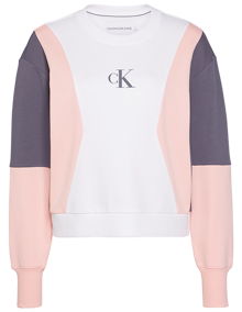 Calvin Klein Jeans Color Block Sweatshirt - Bright White / Pink / Abstract Grey | Coaststore