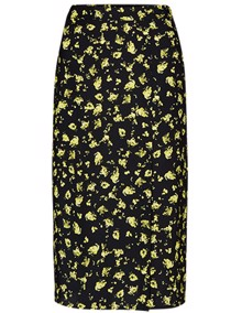 Calvin Klein Jeans Floral Midi Nederdel - Black Grungy Halftone Yellow Floral | Coaststore