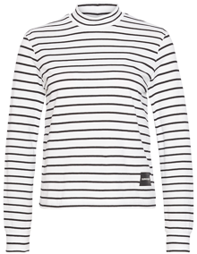 Calvin Klein Jeans Mock Neck LS Bluse - White / CK Black Stripes | Coaststore