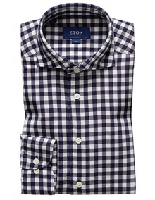 Eton Soft Gingham Checked Skjorte - Navy | Coaststore.dk