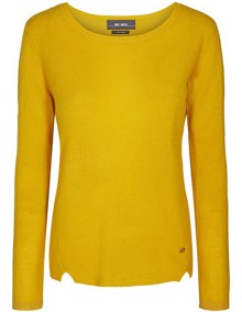 Mos Mosh Sophia O-neck Cashmere Strik - Yellow Gold | Coaststore