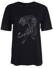 One Two Luxzuz Sneaky Tiger T-shirt - Black | Coaststore