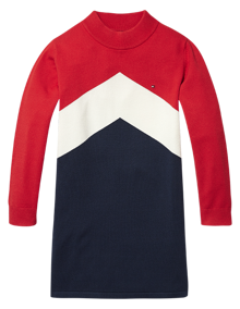 Coaststore.dk Tommy Hilfiger Kids Girls Chevron Block Sweater Kjole Multifarvet