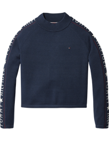 Coaststore.dk Tommy Hilfiger Kids Iconic Logo Mock Neck Sweater Navy