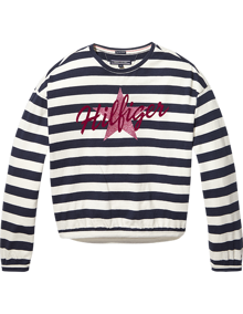 Coaststore.dk Tommy Hilfiger Kids Iconic Girls Star Flock T-shirt Stribet Navy
