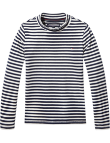Coaststore.dk Tommy Hilfiger Kids Stripe Mock Neck Rib Trøje Stribet Navy