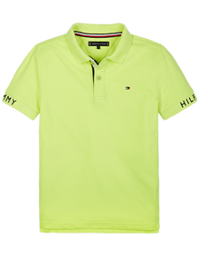 Tommy Hilfiger Sleeve Text Polo T-shirt - Safety Yellow | Coaststore