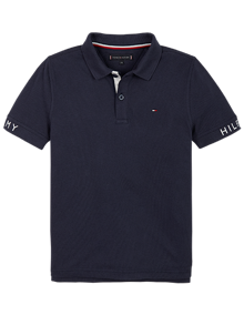 Tommy Hilfiger Sleeve Text Polo T-shirt - Twilight Navy | Coaststore