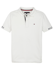 Tommy Hilfiger Sleeve Text Polo T-shirt - White | Coaststore