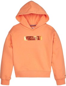 Tommy Hilfiger Foil Label Hættetrøje - Melon Orange | Coaststore