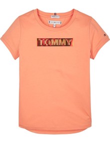 Tommy Hilfiger Foil Label T-shirt - Melon Orange | Coaststore