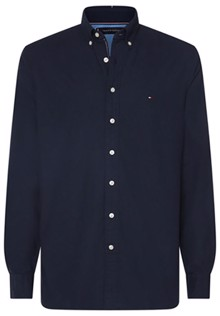 Tommy Hilfiger Flex Herringbone Skjorte - Navy Blazer Heather | Coaststore.dk