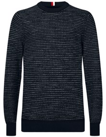 Tommy Hilfiger Honeycomb Slub Strik - Sky Captain | Coaststore.dk