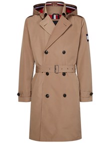 Tommy Hilfiger Hooded Trench Coat - Dark Dune | Coaststore