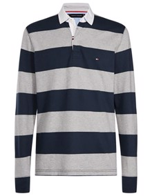 Tommy Hilfiger Iconic Block Stripe Bluse - Cloud Heather / Sky Captain | Coaststore.dk