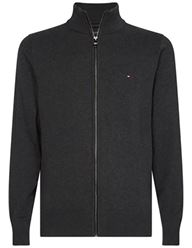 Tommy Hilfiger Pima Zip Through Sweater - Charcoal | Coaststore.dk