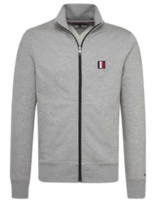 Tommy Hilfiger Logo Zip Through Sweatshirt - Cloud Heather | Coaststore.dk