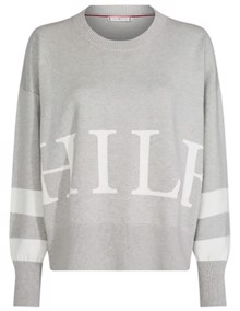 Tommy Hilfiger Marcey Graphic Strik - Light Grey Heather | Coaststore.dk