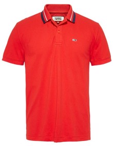 Tommy Jeans Classics Tipped Polo T-Shirt - Racing Red | Coaststore