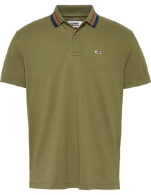 Tommy Jeans Classics Tipped Polo T-Shirt - Uniform Olive | Coaststore