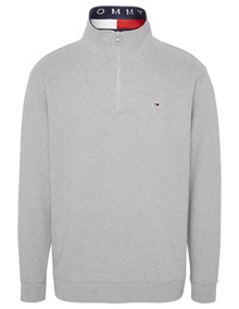 Tommy Jeans Solid Zip Mock Sweatshirt - Light Grey Heather | Coaststore.dk