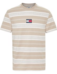 Tommy Jeans Stripe Logo T-shirt - Stone | Coaststore