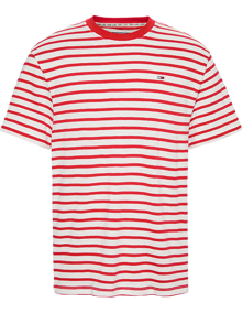 Tommy Jeans Tommy Stripe T-shirt - Deep Crimson / White | Coaststore