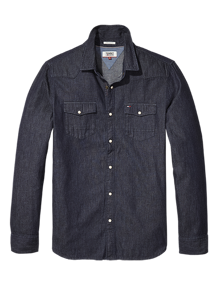 Coaststore.dk Tommy Jeans Men Essential Denim Skjorte Mørkeblå vask