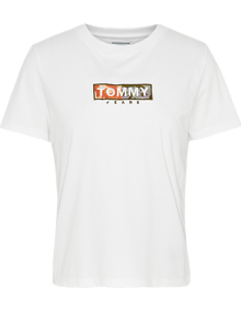 Tommy Jeans Camo Square Logo T-shirt - White | Coaststore