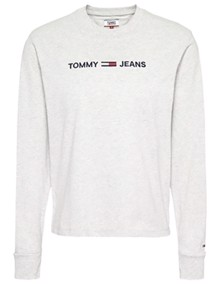 Tommy Jeans Clean Linear Logo Bluse - Pale Grey Heather | Coaststore.dk