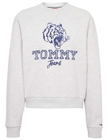 Tommy Jeans Logo Raglan Sweatshirt - Pale Grey Heather | Coaststore.dk
