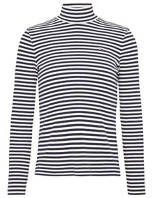 Tommy Jeans Mock Neck Stripe Bluse - Classic White / Black Iris | Coaststore.dk