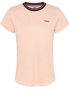 Tommy Jeans Rib Neck Stripe T-shirt - Melon Orange | Coaststore