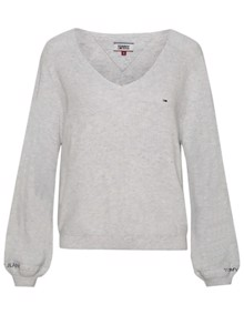 Tommy Jeans Sleeve Detail Sweater - Pale Grey Heather | Coaststore.dk