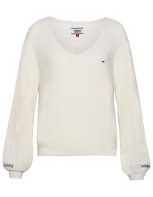 Tommy Jeans Sleeve Detail Sweater - Classic White | Coaststore.dk